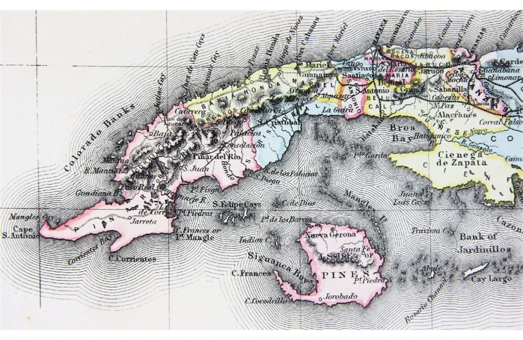 Mapa Cuba de JOHNSON & BROWNING. 1859